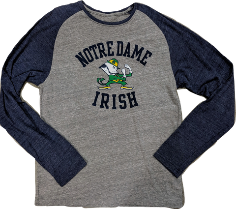 Notre Dame Fighting Irish Navy/Gray adidas Originals Gym Class Tri-Blend Long Sleeve Tee