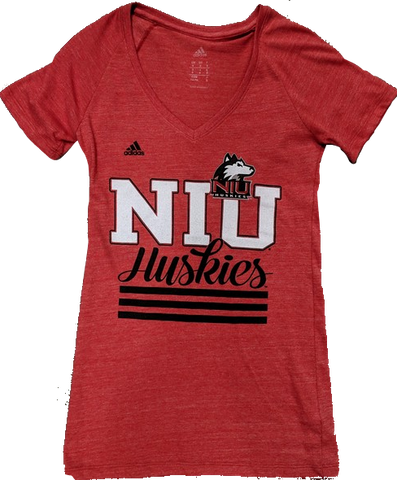 Womens NCAA Northern Illinois University Huskies Red adidas Heathered Tri-Blend Tee