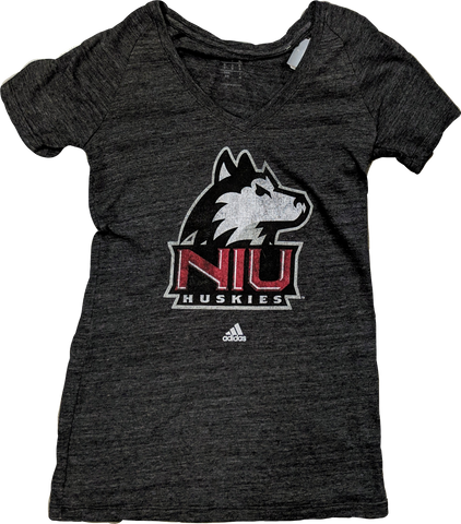 Women's adidas Gray Northern Illinois Huskies Classic Primary Tri-Blend V-Neck T-Shirt