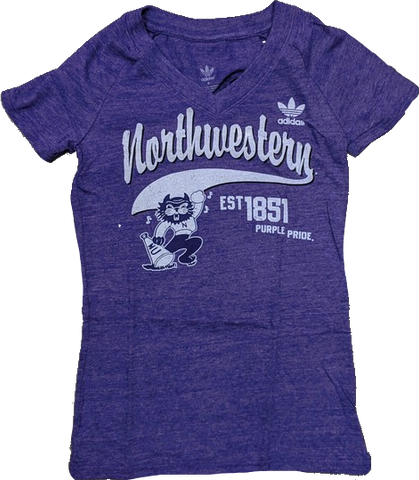Women's adidas Purple Northwestern Wildcats Fearless Tri-Blend V-Neck T-Shirt