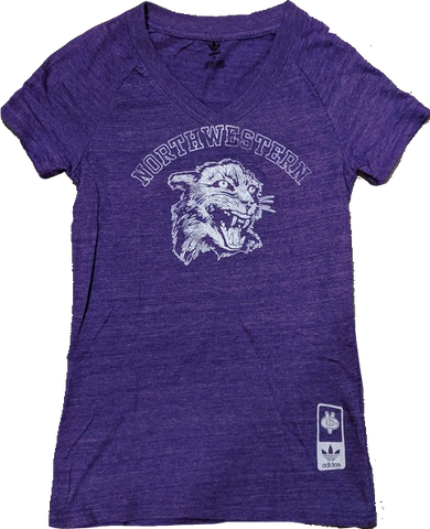 NCAA Northwestern Wildcats Women's Heather Purple adidas Originals Vault Tri-Blend V-Neck T-Shirt