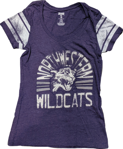 Womens NCAA Northwestern Wildcats Purple Tailgate Mascot Celebrate V-Neck Tee