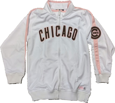 Youth Girls Chicago Cubs White/Pink Full Zip Track Jacket