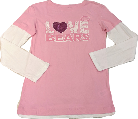 Chicago Bears Youth Girls Love Long Sleeve T-Shirt - Pink
