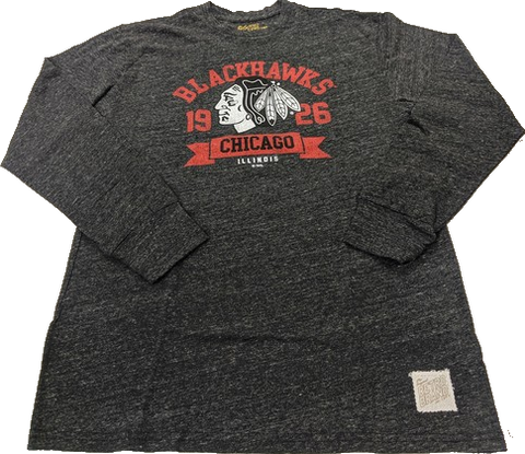 Men's Chicago Blackhawks Ghost Logo Charcoal Long Sleeve Tee