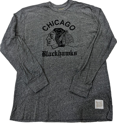 Men's Chicago Blackhawks Old English Gray Long Sleeve Tee