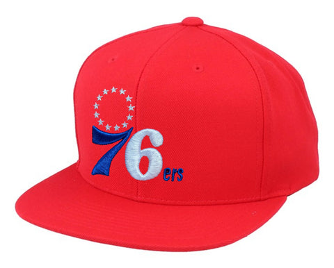 Mens NBA Philadelphia 76ers Red Team Snapback Hat By Mitchell And Ness