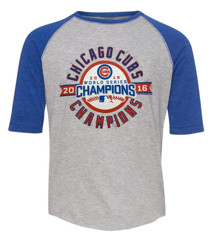 Youth Chicago Cubs 2016 World Series Champions Heather Gray/Blue 3/4 Sleeve Tee