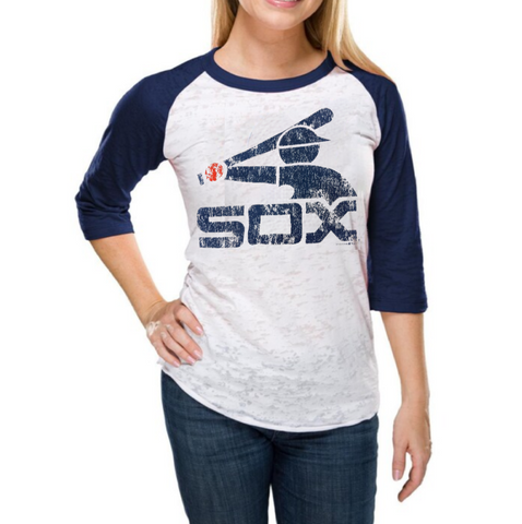 Chicago White Sox Women's Burnout 3/4-Sleeve White/Navy Blue Raglan T-Shirt