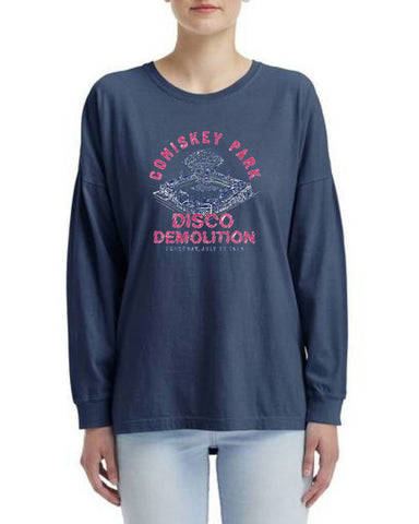 Women's Comiskey Park Disco Demolition Navy Long Sleeve Tee