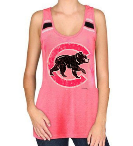 Women's Chicago Cubs Scoop Neck Racerback Tank With Stripes