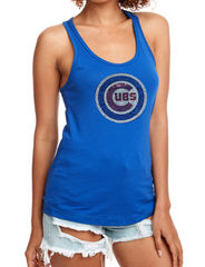 Women's Chicago Cubs Royal Blue Primary Logo Bling Tank Top
