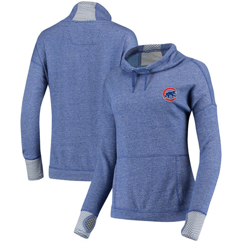 Chicago Cubs  Antigua Women's Snap Cowl Neck Pullover Sweatshirt - Heathered Royal