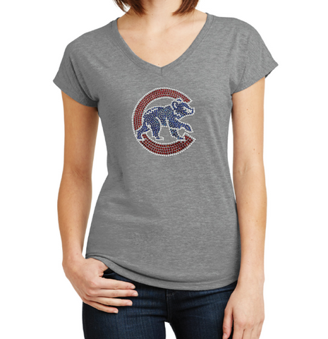 Women's Chicago Cubs Walking Bear Bling Multi Count V-Neck Tee