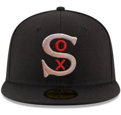 Men's Chicago White Sox New Era 1917 Logo Black Cooperstown Collection 59FIFTY Fitted Hat