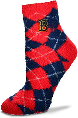 Boston Red Socks Argyle Fuzzy Sleep Socks