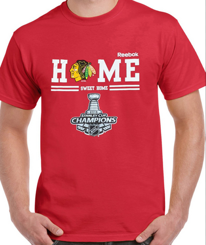 "Mens Reebok Chicago Blackhawks 2015 Stanley Cup Champions Red ""Home Sweet Home"" Tee"