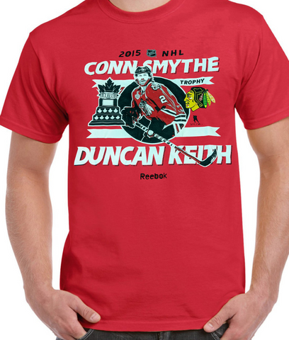 Mens Reebok Duncan Keith Conn Smythe MVP Chicago Blackhawks 2015 Stanley Cup Champions Red Tee
