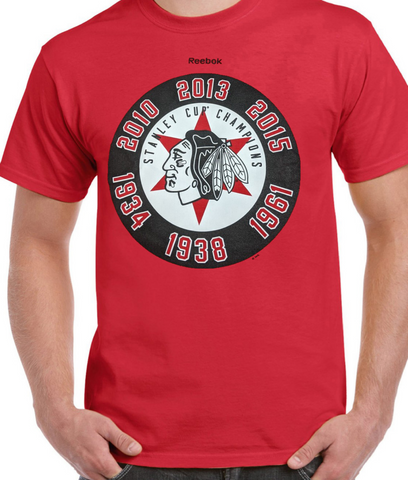 Men's Chicago Blackhawks Majestic Red 6 Time Champions Star Tee