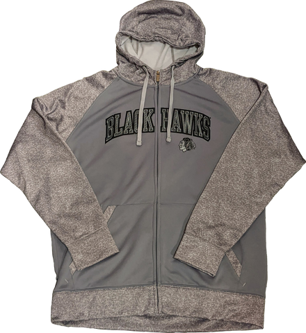 Chicago Blackhawks Strategy Steel Grey Full Zip Hoodie By Antigua