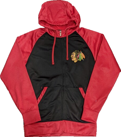 Chicago Blackhawks Strategy Black/Red Full Zip Hoodie By Antigua