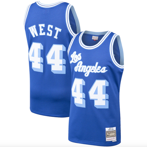 Men's Los Angeles Lakers Jerry West Mitchell & Ness Royal Hardwood Classics 1960-61 Swingman Jersey