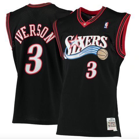 Men's Allen Iverson Philadelphia 76ers 2000-2001 Swingman Black Replica Jersey By Mitchell & Ness