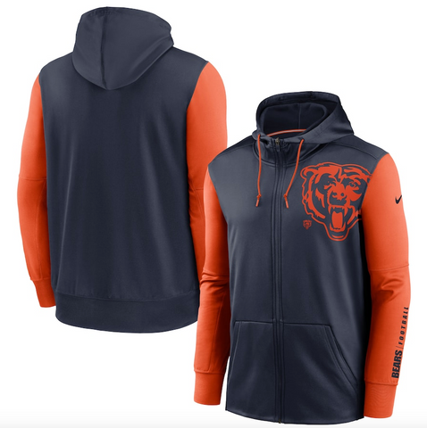 Chicago Bears Nike Fan Gear Mascot Performance Full-Zip Hoodie – Navy/Orange