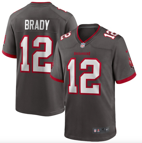 Men's Nike Tom Brady Pewter Tampa Bay Buccaneers Alternate Game Jersey