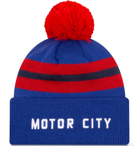 Men's Detroit Pistons New Era Blue 2020/21 City Edition Pom Cuffed Knit Hat