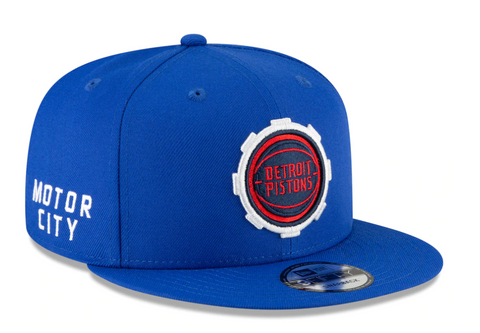 Men's New Era Detroit Pistons Blue/Red 2020/21 City Edition Alternate 9FIFTY Snapback Adjustable Hat