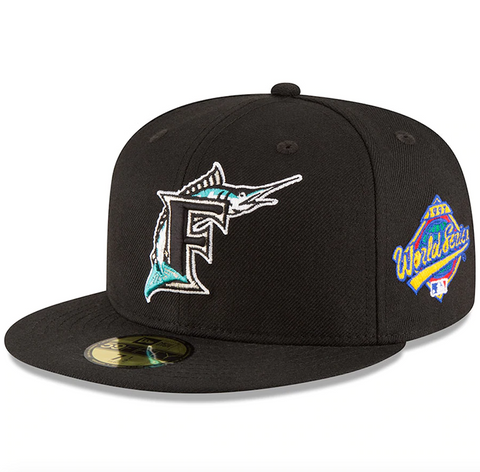 Men's Florida Marlins New Era Black 1997 World Series Wool 59FIFTY Fitted Hat