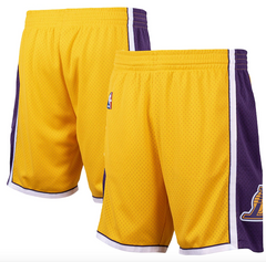 Los Angeles Lakers Mitchell and Ness Hardwood Classics Road Swingman Shorts - Mens