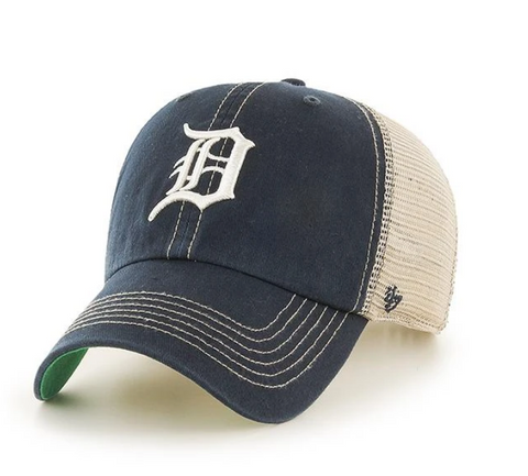 '47 Brand Detroit Tigers Navy/Natural Trawler Clean Up Adjustable Hat