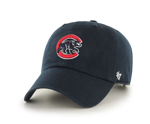 '47 Brand Chicago Cubs MLB Navy Alternate Logo Clean Up Strapback Cap