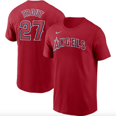 Men's Los Angeles Angels Mike Trout Nike Red Name & Number T-Shirt
