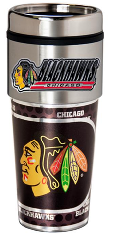 Chicago Blackhawks 16oz Travel Tumbler with Metallic Wrap