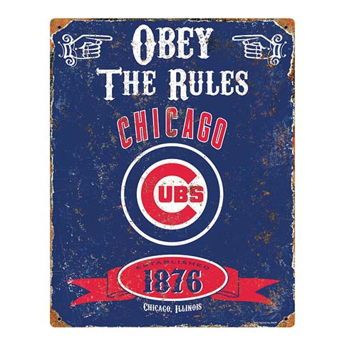 Chicago Cubs Obey The Rules Vintage Metal Sign Pro