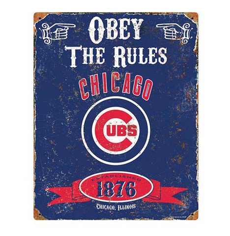 Chicago Cubs Obey The Rules Vintage Metal Sign - Pro Jersey Sports