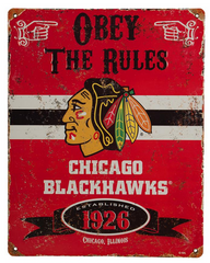 Chicago Blackhawks Obey The Rules Vintage Metal Sign - Pro Jersey Sports