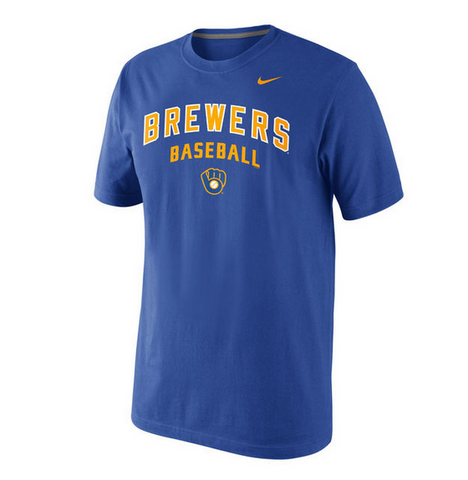 Men's Milwaukee Brewers Nike Royal Home Practice T-Shirt