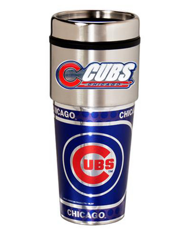 Chicago Cubs 16oz Travel Tumbler with Metallic Wrap - Pro Jersey Sports