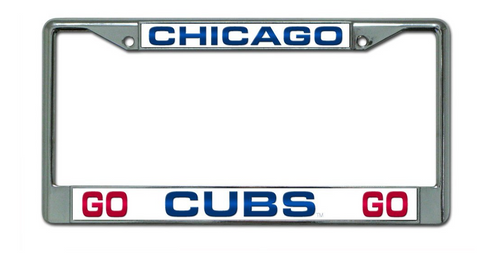Chicago Cubs Go Cubs Go Design Laser-Cut Chrome Auto License Plate Frame - Pro Jersey Sports
