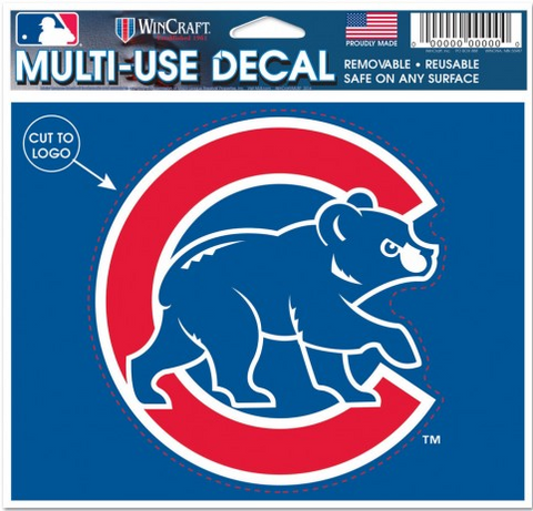 Chicago Cubs Walking Bear Multi Use 4.5X5.75 Decal