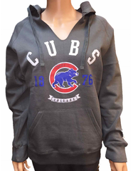 Soft As A Grape Chicago Cubs Womens Gray Walking Bear Pullover Fleece Hoodie Sweatshirt - Pro Jersey Sports