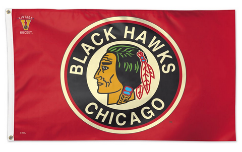 Chicago Blackhawks 1934 Logo 3X% Deluxe Flag With Grommets
