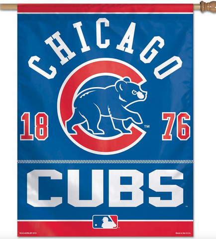 "Chicago Cubs Vertical Flag 27"" x 37"" Walking Bear 1876 - Pro Jersey Sports"
