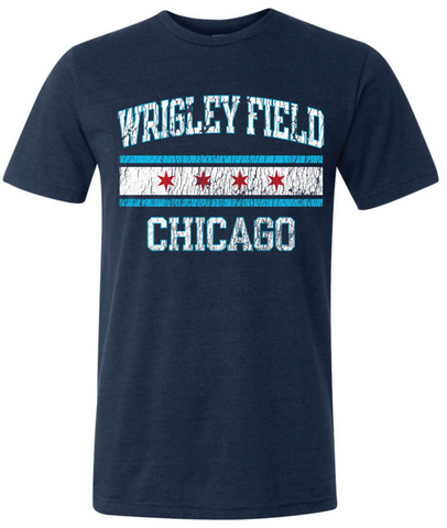 Chicago Cubs Wrigley Field Chicago Flag Tee Navy By Beantown Brand Apparel - Pro Jersey Sports