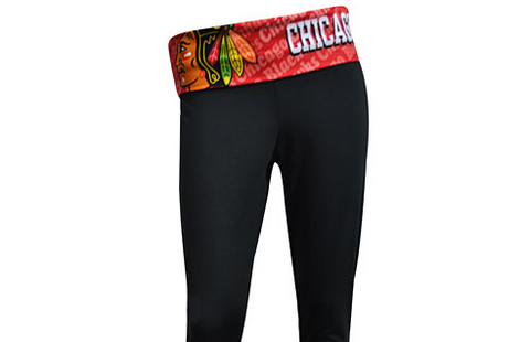 Chicago Blackhawks Cameo Fold Over Capri Leggings By Concepts Sport