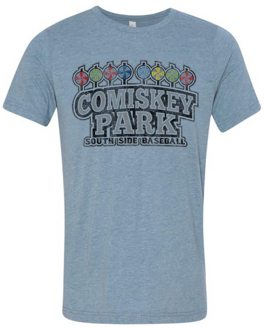 Chicago White Sox Comiskey Park South Side Baseball Blue Tri Blend Tee